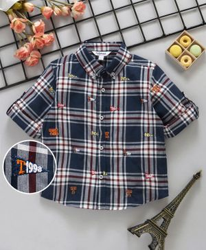 ToffyHouse Checks Full Sleeves Shirt - Navy Blue