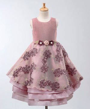 Maalka Sleeveless Rosette Decorated Layered Dress - Pink