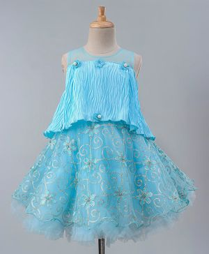 Maalka Sleeveless Sequin Embellished Flower Embroidered Poncho Style Dress - Blue