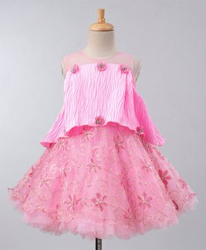 Maalka Sleeveless Sequin Embellished Flower Embroidered Poncho Style Dress - Pink