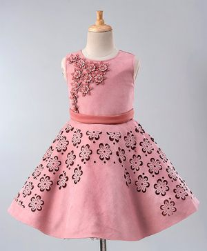 Maalka Sleeveless Laser Cut Work Flower Decorated Dress - Pink