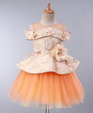 Maalka Half Sleeves Floral Design Fit & Flare Dress - Peach