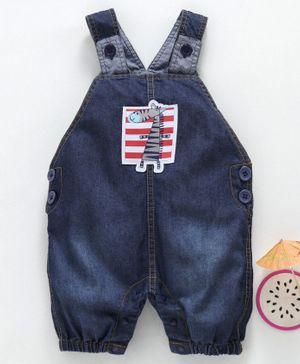 marshmallow Sleeveless Dungaree Style Romper Giraffe Print - Dark Blue