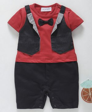 marshmallows Half Sleeves Romper With Attached Waistcoat & Bow - Red Black