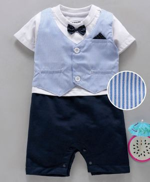 marshmallows Half Sleeves Romper With Attached Striped Waistcoat & Bow - Blue