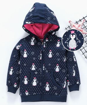Babyhug Full Sleeves Hooded Sweat Jacket Penguin Print - Navy Blue
