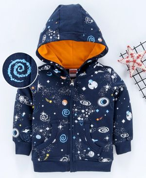 Babyhug Full Sleeves Hooded Sweat Jacket Galaxy Print - Dark Blue