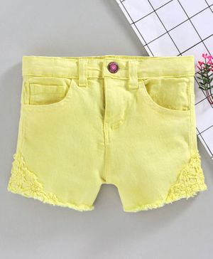 Babyhug Shorts with Floral Embroidery - Yellow