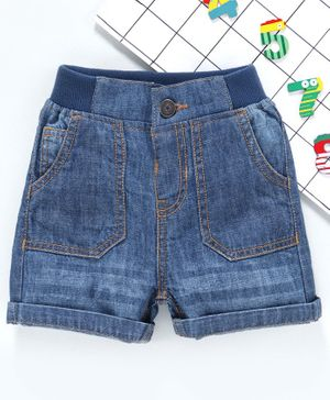 Babyhug Mid Thigh Denim Shorts - Blue