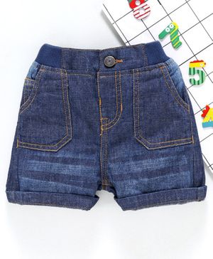 Babyhug Mid Thigh Denim Shorts - Dark Blue
