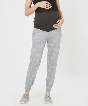 Mystere Paris Striped Elasticated Jogger Pants - Grey