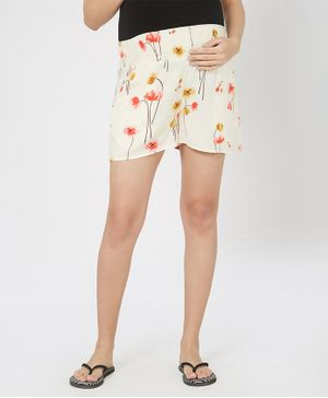 Mystere Paris Floral Maternity Shorts - Yellow