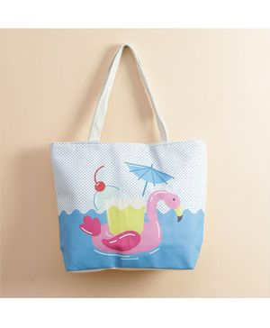 Quirky Monkey Tote Bag Flamingo Print - Blue
