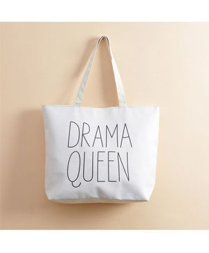Quirky Monkey Tote Bag Drama Queen Print - White
