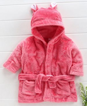 Babyhug Full Sleeves Hooded Velour Bath Robe - Pink