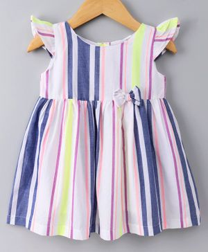 Spring Bunny Striped Cap Sleeves Dress - Blue