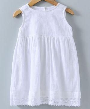 Spring Bunny Solid Sleeveless Dress - White