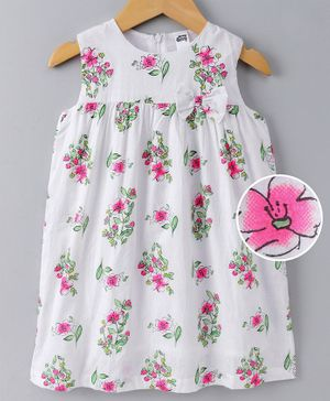 Spring Bunny Floral Print Sleeveless Dress - Pink