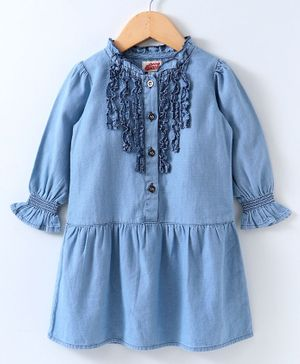 Spring Bunny Solid Frilly Full Sleeves Dress - Blue