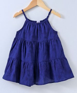 Spring Bunny Flower Embroidered Sleeveless Dress - Navy Blue