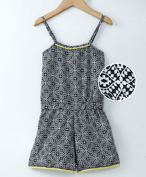 Spring Bunny Design Printed Sleeveless Jumpsuit - Black