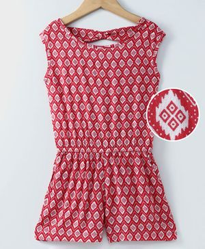 Spring Bunny Printed Sleeveless Jumpsuit - Red
