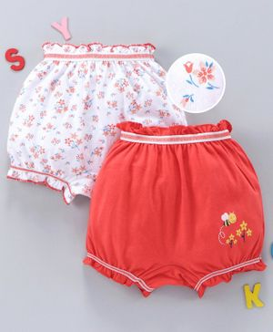 Babyhug Cotton Bloomers Floral Print Pack of 2 - Red
