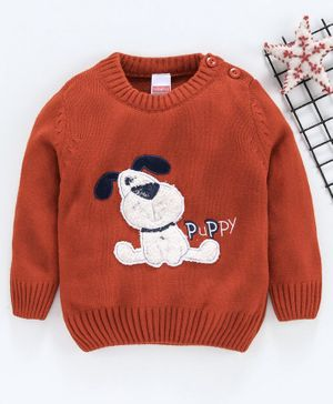 Babyhug Full Sleeves Sweater Dog Patch - Dark Orange