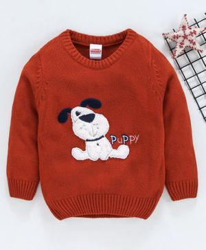 Babyhug Full Sleeves Sweater Dog Patch - Brown