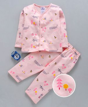 First Smile Full Sleeves Night Suit Multi Print - Pink