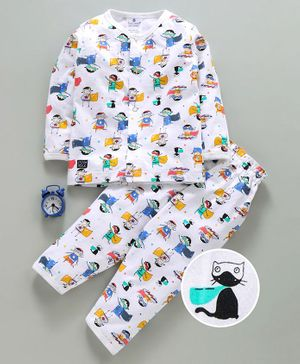 First Smile Full Sleeves Night Suit Cartoon Print - White