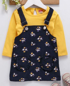 Babyhug Corduroy Floral Dungaree Style Frock With Solid Tee - Yellow