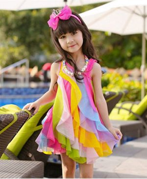Pre Order - Awabox Sleeveless Asymmetrical Neck Rainbow Tulle Dress - Multi Colour