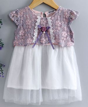 Superfie Flower Embroidered Cap Sleeves Net Dress - Pink