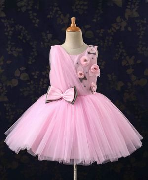 Bluebell Sleeveless Floral Embellished Party Wear Frock With Bow - Pink