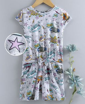 Dew Drops Short Sleeves Jumpsuit Multi Print - Grey