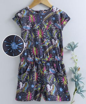 Dew Drops Short Sleeves Jumpsuit Multi Print - Navy Blue