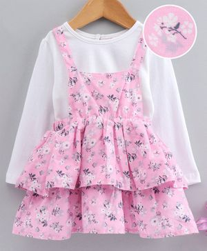 Babyhug Square Neck Frilled Frock With Inner Tee Floral Print - Pink