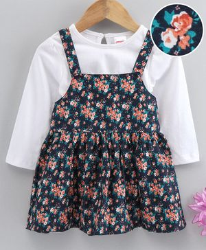 Babyhug Square Neck Frock With Inner Tee Floral Print - Navy