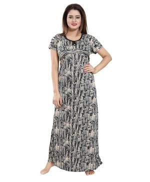 Fabme Printed Half Sleeves Maternity Night Gown - Cream