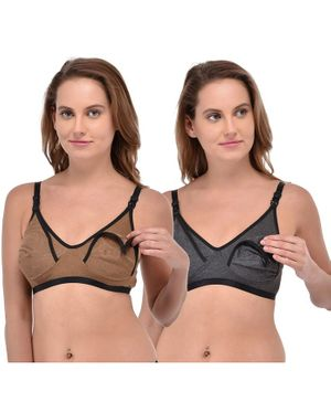 Fabme Set of 2 Non-Wired Seamless Bra - Brown & Grey