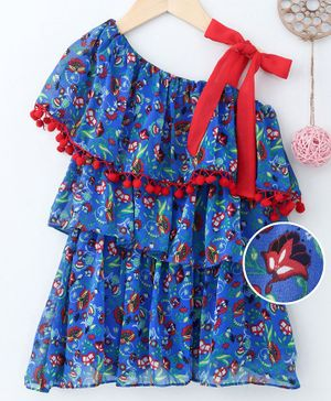 Soul Fairy Half Sleeves Flower Print One Shoulder Dress - Blue