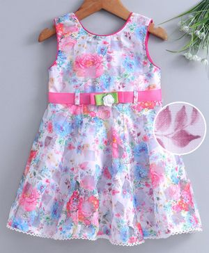 Enfance Core Flower Print Sleeveless Dress - Pink