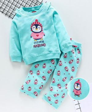Babyhug Full Sleeves Top With Lounge Pant Penguin Print - Green
