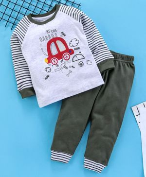 Babyhug Full Sleeves Tee And Lounge Pant Car Print - Light Grey Green