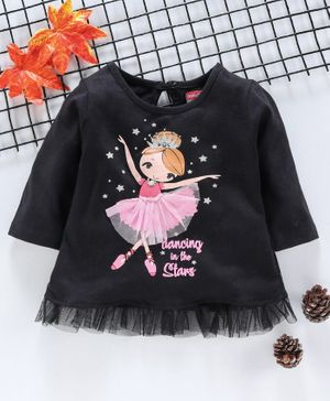 Babyhug Full Sleeves Top Dancing Print - Black
