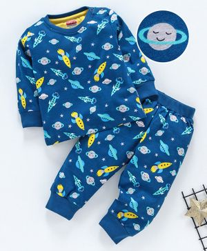 Babyhug Full Sleeves Night Suit Space Print - Blue