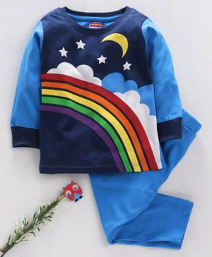 Babyhug Full Sleeves Night Suit Rainbow Print - Blue