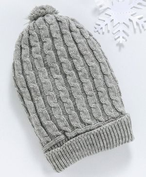 Babyhug Cap With Pom Pom & Self Design - Grey