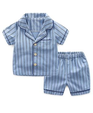 Awabox Short Sleeves Striped Night Suit - Blue